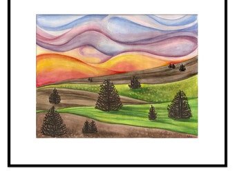 landscape tree painting, original watercolor, framed nature wall art, colorful sunset framed painting