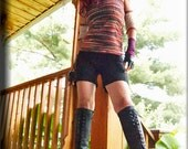 Shorts - Hot Pants - Steampunk - Playa Wear for Burning Man - Festival - Black Sexy Shorts - Bohemian Gypsy - Pixie Shorts - Size Medium