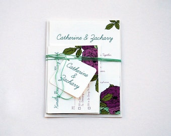 The Elizabeth Collection - Floral Kraft Wedding Invitation Set with Roses in Berry, Olive and Moss Green - SAMPLE