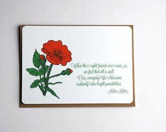 Poppy Friendship Notecards in Tomato Red, Cream and Green - Set of 3, 6 or 10 Flat Notecards and Kraft Envelopes