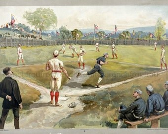 antique victorian lithograph baseball game illustration digital download