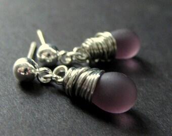 Wire Wrapped Earrings in Silver with Purple Frosted Teardrops, Silver Stud Earrings. Handmade Jewelry by Gilliauna