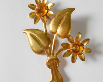 Vintage Tin Brooch • Gold Color with Amber Floral