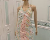 NEW, APRON, Mint green, modern, floral striped print, one pocket,  bias trim,with lace