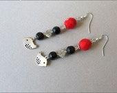 Red Black Silver Bird Dangle  Earrings