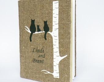 Wedding Guest Book / Wedding Book / Rustic Wedding Guest Book /  Linen Guest Book Size 6.1 inches X 8.3 inches Dark green cat family on tree
