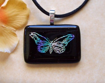 Blue Butterfly Fused Glass Pendant - Dichroic Jewelry - Dichroic Glass Pendant & Necklace - 101-14