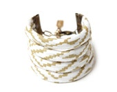Maze String Cuff Bracelet in Gold on Creme