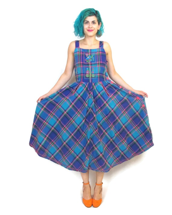 80s Picnic Plaid Full Skirt Dress Cotton 50s Style Summer Floral Sun Dress Colorful Pockets Button Down  (M)