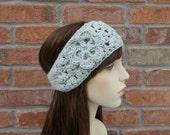 Gray Headband Crochet Ear Warmer Ski Headband Gifts Under 25 Crochet Headband with Flower Winter Accessories for Women and Teens Gift Ideas