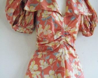 1930's dress, pink  floral garden party dress, bias cut  with giant collar, ruching and puffed sleeves, size s