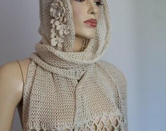 Ivory Nude Knit Crochet Shawl Scarf ,Cotton Wrap, summer knit shrug, summer shawl, beach knit wear