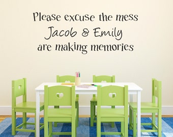 Please Excuse the Mess Wall Decal - Personalized Decal - Playroom Wall Art