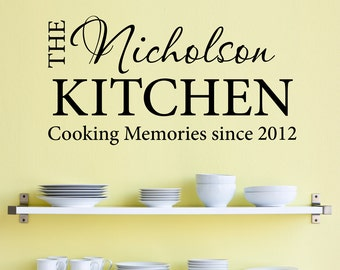 Personalized Name Kitchen Wall Decal - Cooking Memories - Established Date Decal - Large