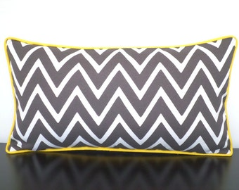Gray outdoor pillow cover 20x12, geometric chair cushion cover outdoor bench, gray and yellow outdoor lumbar, chevron lumbar pillow piping