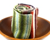 Felted Wool Scarf Kaleidoscope Long Scarf - Green, Brown Stripe, Tan, Orange