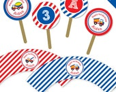 Truck party - Personalized DIY printable cupcake wrapper and topper set