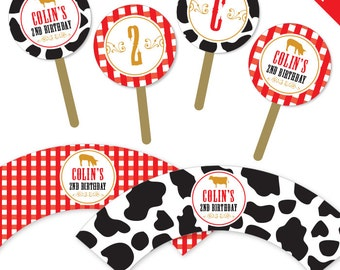 Vintage Farm Party - Personalized DIY printable cupcake wrapper & topper set