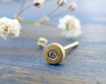 Baby's Breath. Diamond and 14K Gold Organic Stud. Recycled Gold. Eco Friendly. Handmade. One Tiny Stud.
