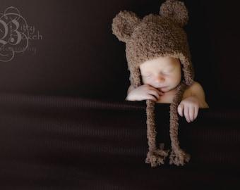 Brown Bear Knit Hat, Bear Hat, Animal Hat, Newborn Photo Shoot Prop, Teddy Bear Hat, Soft Warm Winter Hat