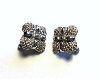 Vintage Monet Signed Silver Clip On Earrings 1960s Mad Men Style Jewelry Retro Gift Sale