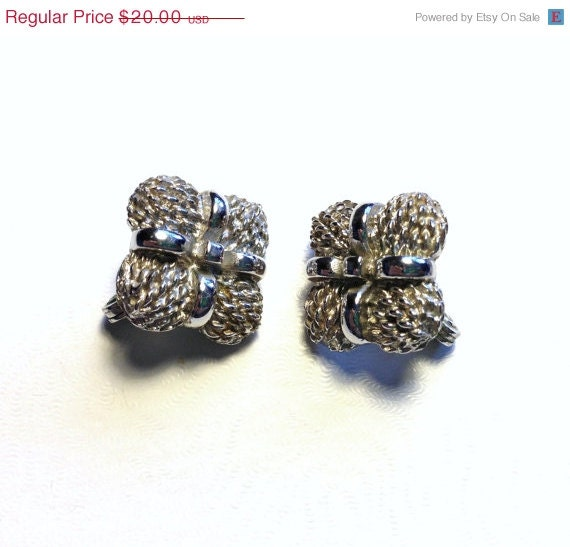 sale vintage monet signed silver clip on earrings by
