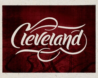 "Cleveland Ohio Print - 12"" x 9"" French Speckletone Madero Beach, Vintage Inspired"