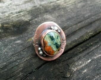 Rainforest Jasper and Sterling Silver Ring