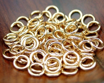 200 pcs 6, 7, or 8 mm Gold Plated Brass Jump Rings, Open (18 gauge)
