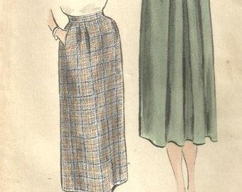 Vogue 7600 / Vintage 50s Sewing Pattern / Skirt / Waist 26