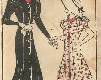 Hollywood 4173 / Vintage 1930s Sewing Pattern / Dress / Size 16 Bust 34