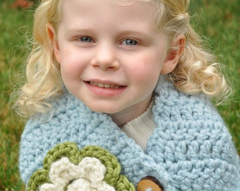 Chunky Flower Cowl Crochet Pattern for Babies to Adult, Instant Download