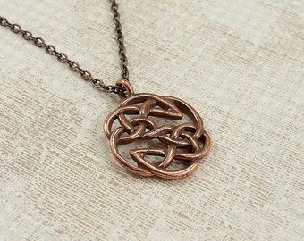 Woven Celtic Knot Necklace, Antique Copper Celtic Knot Charm on a Copper Cable Chain