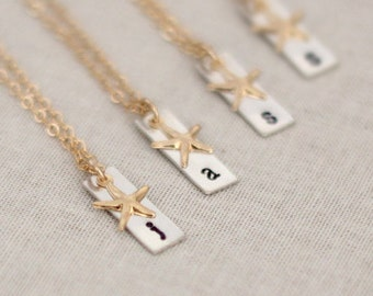 Personalized Bridesmaid Gold Starfish Initial Necklace Set, Beach Wedding Bridesmaid Gifts, Set of 4, 5, 6, 7 or 8