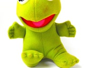 1987 Baby Kermit the Frog Jim Henson Muppet Babies Plush Stuffed Toy Doll Retro Lime Green Puppet Marionette Disney Character Icon Amphibian