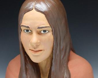 Bust Sculpture Of A Woman, Ceramic Figure Art Portrait Head