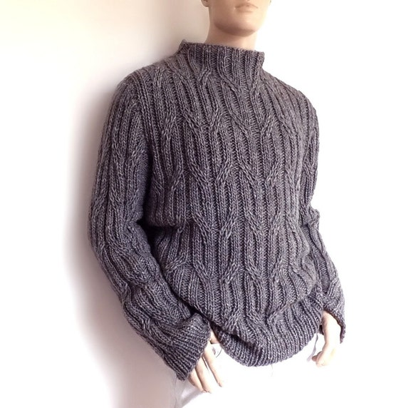 Mens sweater Chunky Knit Gray cabled pullover Smocked