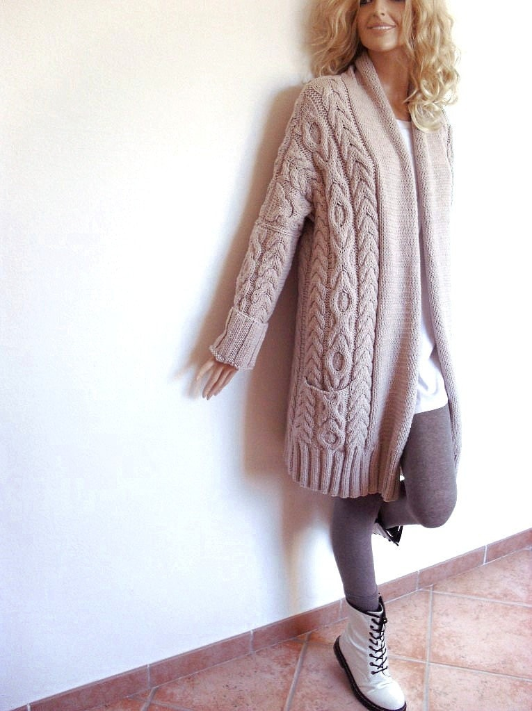 Knitting Patterns For Cardigan Sweaters : Womens Cable Knit Sweater Knitted Merino Wool Cardigan