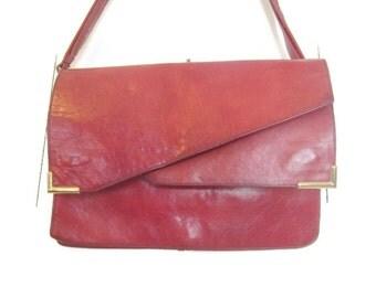 Vintage Leather purse, oversized 70s clutch, Extra Large Bohemian Handbag