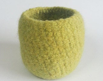 Small Felt Bowl, Wool Felt Bowl, Handmade Bowl, Crochet Bowl, Lime Green Bowl
