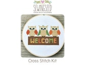Owl Welcome Cross Stitch Kit, DIY Kit, Rustic, Embroidery Kit, DIY home decor, House Warming