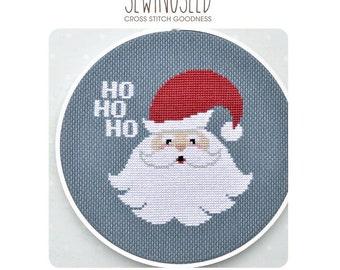 Jolly Santa Cross Stitch Pattern Instant Download