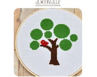 Circle Tree Cross Stitch Pattern Instant Download