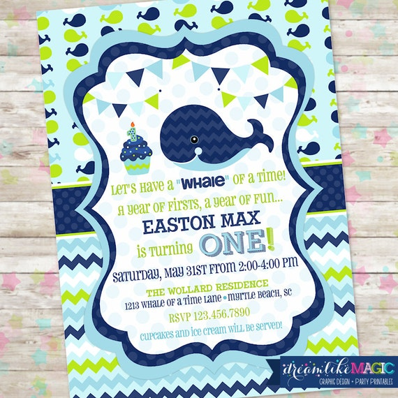 Whale of a 1st Birthday Invite Whale Nautical 1st Birthday Preppy