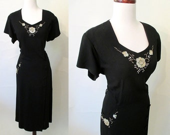 Beautiful XXL 1950's Black Crepe Party Dress with Sequins and Beads Rockabilly VLV Pinup Curvy Hourglass Cocktail Dress Size-XX-Large