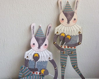 Mr. Rabbit - Articulated Paper Doll Set with 8 Mini Gold Brads