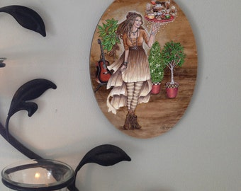 Goddess Caffeina Oval Tile Wall Hanging by Mickie Mueller