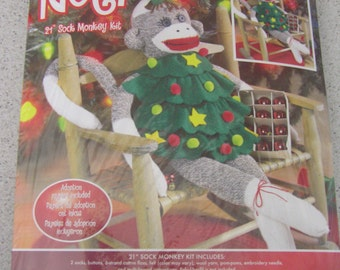 "DESTASH Noel 21"" Sock Monkey Kit with Holiday Tree Dress Sewing Kit by Janlynn Corp - FREE SHIPPING"
