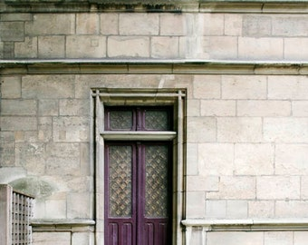 Paris Print, Purple Door, Gray, Purple, Green, Paris Wall Decor, Travel Photography, Paris Door Print, Rustic