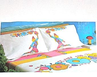 PETER MAX Vintage Sheet Set Full Double Op Art Dancer Mohawk - Deadstock - AUTHENTIC -